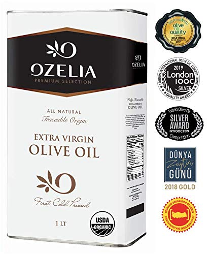 USDA Organic Extra Virgin Olive Oil by OZELIA | Award-winning Singe Family Estate |100% Pure Cold Pressed Unfiltered Non-GMO EVOO for cooking, baking salads 1 Lt / 33.8 fl.oz (33.8 oz Organic)