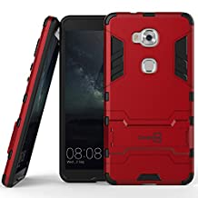 Huawei Honor 5X Case, CoverON® [Shadow Armor Series] Hard Slim Hybrid Kickstand Phone Cover Case for Huawei Honor 5X / Huawei GR5 - Red & Black