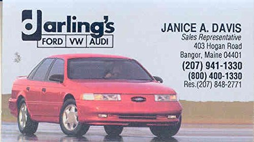 1990 1991   Ford Taurus Svo Business Card Darlings Bangor Me