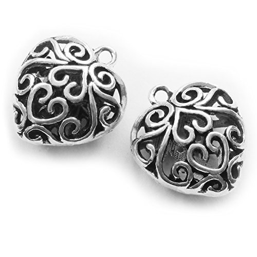 Charm Hollow Heart Silver (Heather's cf 13 Pieces Silver Tone Hollow Heart Beads DIY Charms Pendants 26X24X11mm)