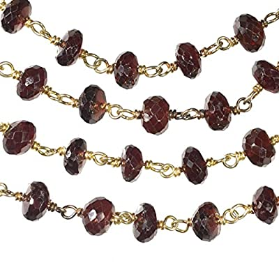 Garnet Faceted Necklace Gold-tone Links 36 Inch