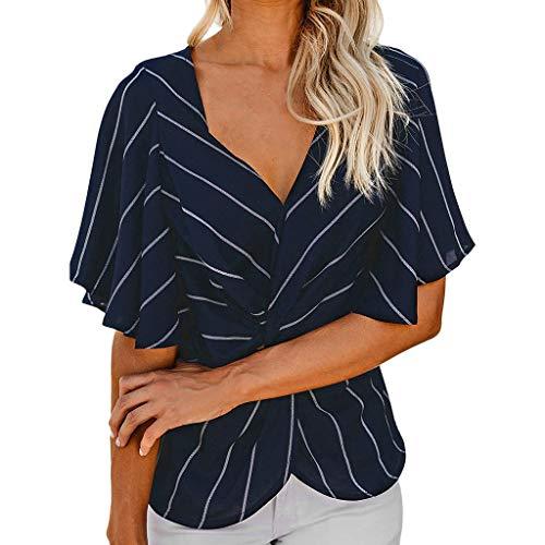 (Newlyblouw Fashion Tops Women Summer Casual Chiffon T-Shirt Sexy V Neck Striped Loose Short Sleeve Twist Knot Blouse Tees Dark Blue)