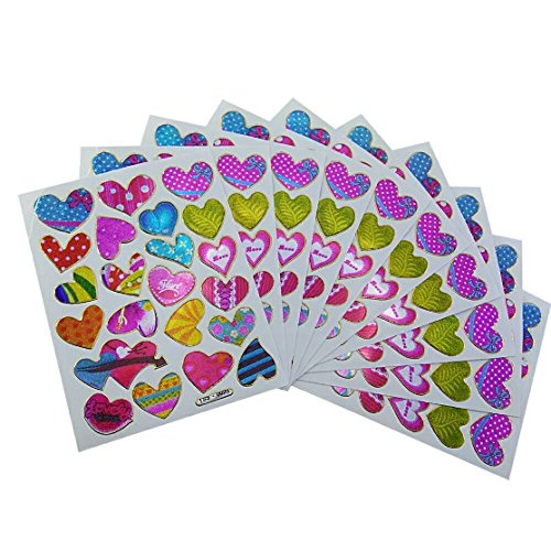 Colorful Heart Decorative Sticker 10 sheets(A102) by R2K