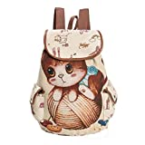 Women Grils Cute Cat Printing Canvas Drawstring Backpack Shopping Bag Travel Bag with Two Side Small Pocket (B) Review