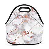 Dozili Rose Gold Marble Large & Thick Neoprene Lunch Bags Insulated Lunch Tote