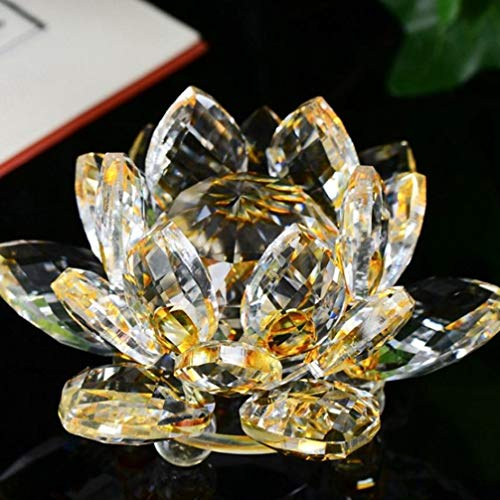 AGONG House LC Sculptures Lotus 60MM Crystal Glass Figure Paperweight Ornament Crystal Sparkle Crystal Lotus Flower Feng Shui Home Decor