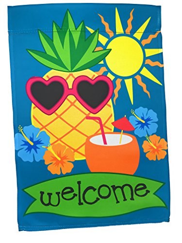 Small Summer Welcome Garden Yard Flag 12 x 18 inch Double Sided, Pineapple Gifts Stuff Front Porch and Door Decor; Seasonal Tropical Outdoor Mini Lawn Flags; Hawaiian Luau Party Decorations