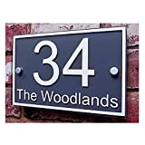 Customized House Sign Plaque Clear Acrylic with Gray Film Door Number/Street Name Sign (210×140mm Rectangular)