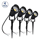 LightingWill 5W LED Landscape Lights, Warm White 3000K-3500K, Waterproof 12V COB LED Outdoor Wall Spotlight Low Voltage Garden Tree Spot Lighting Spike Stand Lawn,Yard,Pathways,Fence (4 Pack)