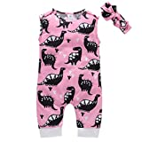 Unisex Baby Sleeveless Dinosaur Printed Romper,Newborn Kids Baby Boys Girls Dinosaur Printing Romper Jumpsuit Outfits Clothes Suitable for 0-24Months Baby (Pink, 18-2Months//100)