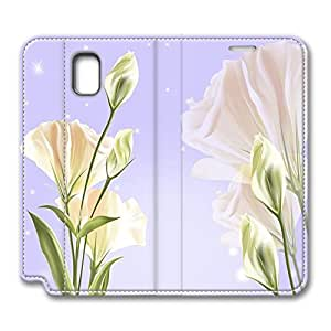 Brian114 Samsung Galaxy Note 3 Case, Note 3 Case - Customized Leather Case for Samsung Note 3 Elegant White Flowers Protective Stand Leather Case for Samsung Galaxy Note 3
