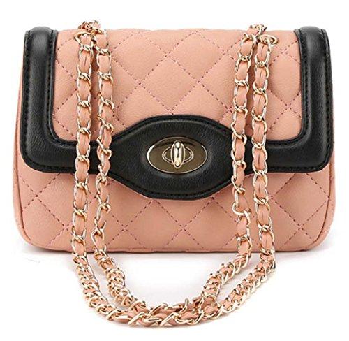 WLFHM Otoño E Invierno La Nueva Versión Coreana Lingge Golpeó El Color Bolso De Hombro Messenger Bag Paquete De Cadena Señoras Pequeño Paquete Pink