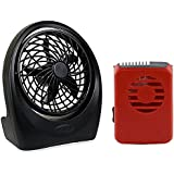 O2cool Portable 5-inch D Battery Powered Lightweight Durable Fan With O2COOL Red Necklace Fan Bundle