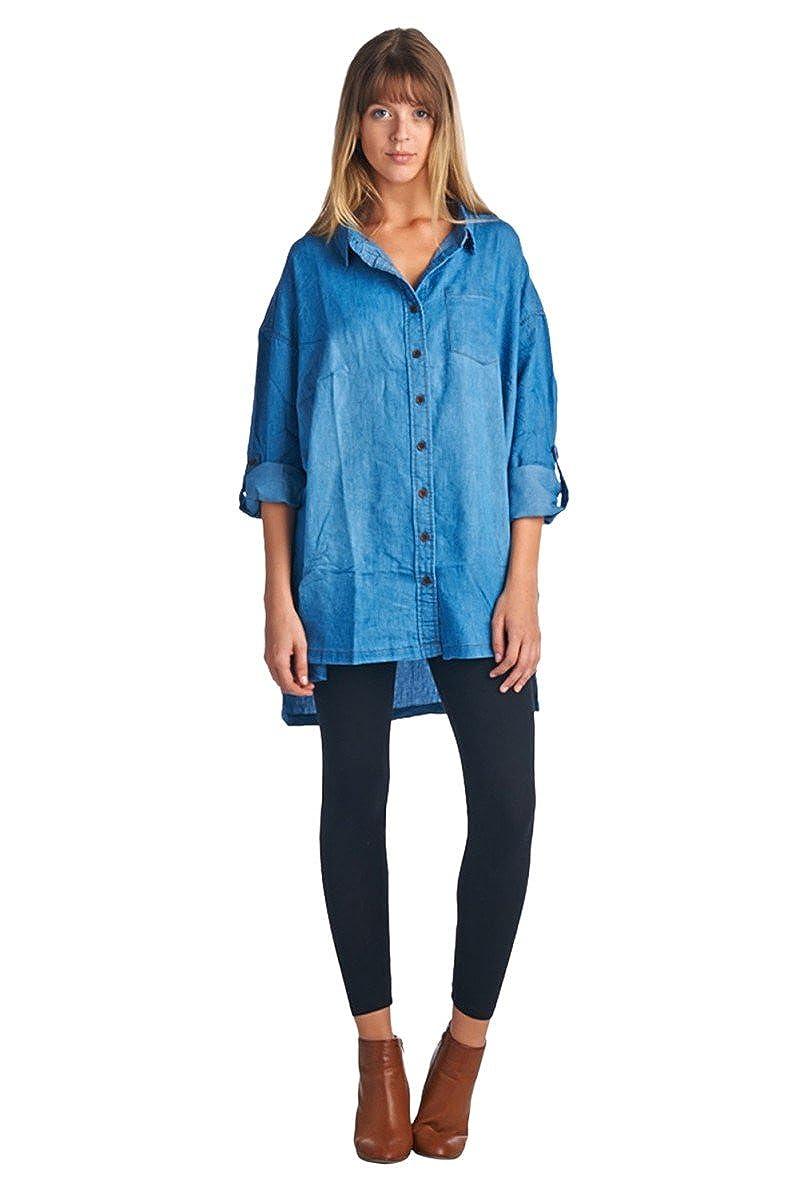 1ad9861a3d BLUE AGE Womens Extra Oversize Boyfriend Style Chambray Denim ButtonDown  Blouse Shirt