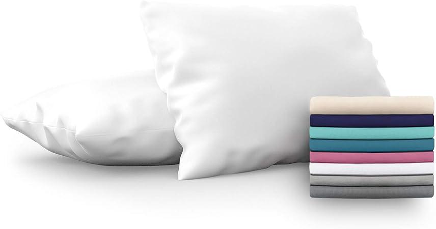 Dreamzie Set de 2 x Funda de Almohada 50x70 cm, Blanco