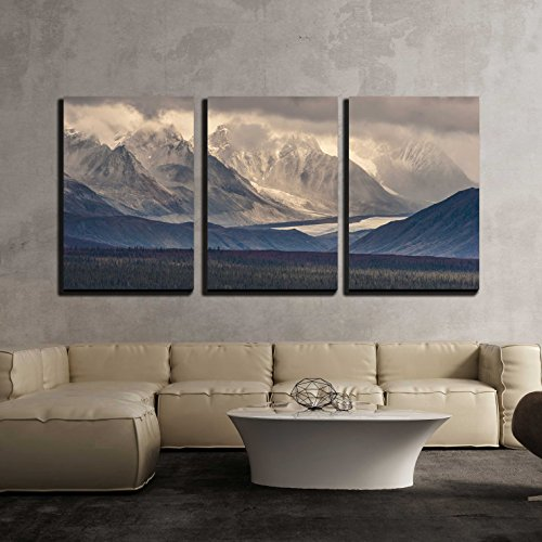 wall26 - 3 Piece Canvas Wall Art - Fall Photograph of Mountains and Receding Glaciers - Modern Home Decor Stretched and Framed Ready to Hang - 24