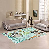 Unique Debora Custom Multicolor Rectangle Area Rug Floor Rug Carpets Home Decorate Floor with Pattern With Cute Raccoons And Spring Flowers