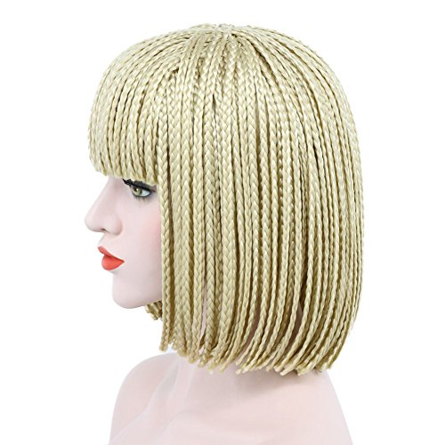 Karlery Women's Fashion Short Bob Golden Handmade Braid Wig Halloween Costume Cosplay Hair Wig (Golden)