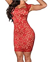 Haogo Womens Sexy Lace Sleeveless Slim Party Pencil Mini Dress