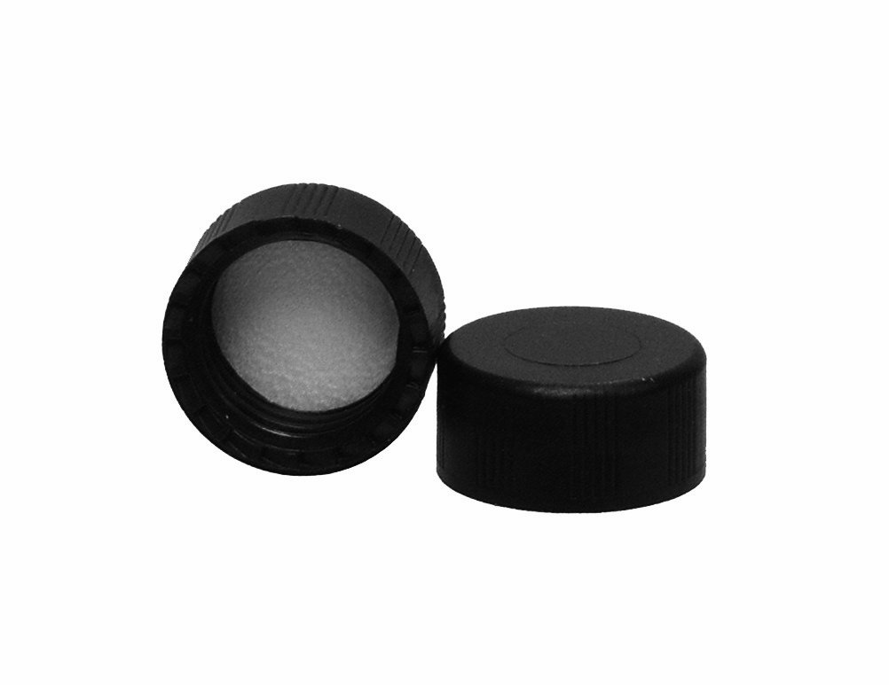 JG Finneran R.A.M. 5360-09 Black Polypropylene Screw Threaded Solid Top Cap for Large Opening Vials, Lined, 9mm Cap Size (Case of 1000)