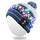 Qshell LED String Light Up Beanie Hat Knit Cap with Copper Wire Colorful Lights 4 feet 18 LEDs for Men Women Indoor and Outdoor, Festival, Holiday, Celebration, Parties, Bar, Christmas Gifts - Blue