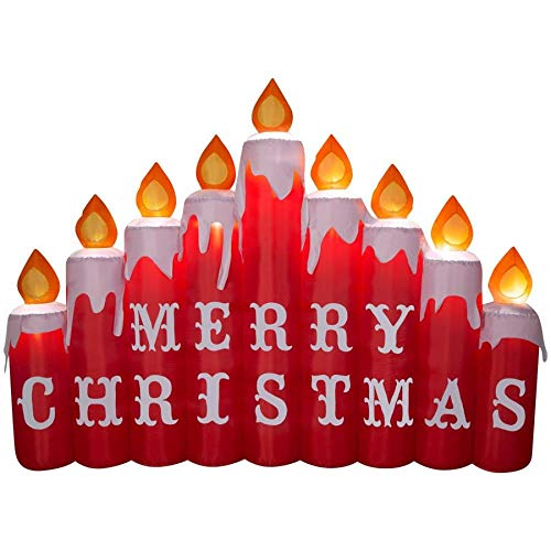 - Gemmy 9 Ft Inflatable Candles with Merry Christmas Airblown Lighted Yard Holiday Outdoor Decoration