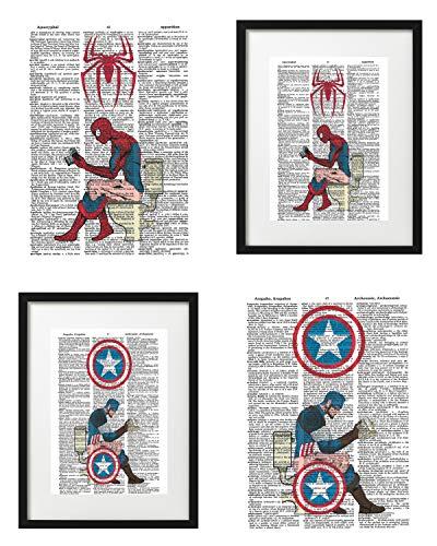 Signature Studios Superhero Wall Decor Spiderman Captain America Funny Bathroom Decor Marvel Comics Poster Set of (2) Superhero Dictionary Art Prints 8x10 ()