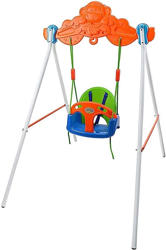 COLOR TREE My First Toddler Swing - Heavy-Duty Baby Indoor/Outdoor Swing Set with Safety Harness/Playground Toys Swingset with Stand for Kids
