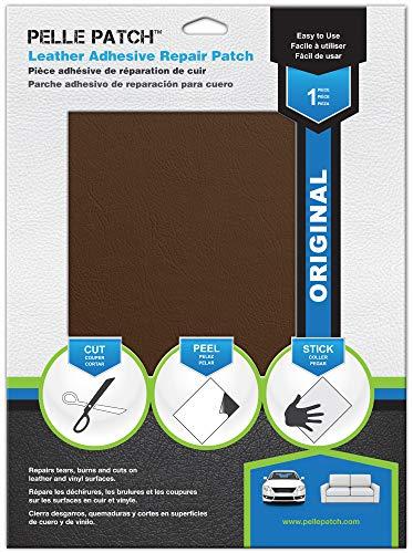 - Pelle Patch - Leather & Vinyl Adhesive Repair Patch - 25 Colors Available - Original 8x11 - Medium Brown