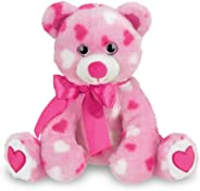 Bearington Sweetheart Pink Valentines Plush Stuffed Animal Teddy Bear with Hearts, 8.5 inches