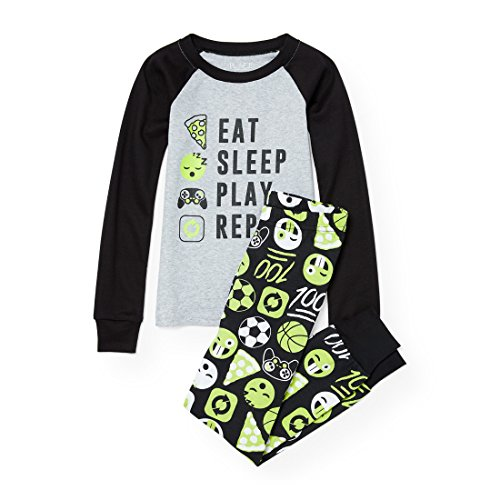 The Children's Place Big Boys' Eat and Sleep List Themed Cotton Pajamas, H/T Mist 90465, 7 by The Children's Place