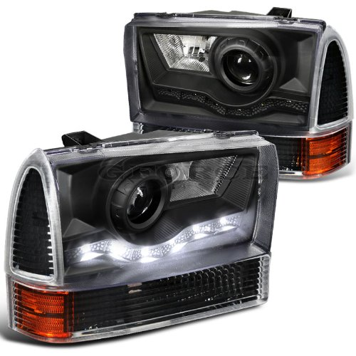 F550 Projector Headlights (Ford F250 F350 F450 F550 Black Smd Led Drl Projector Headlights+Corner Signal)