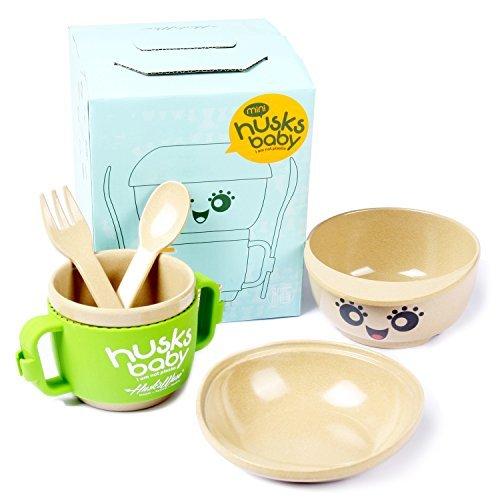 Cenry Toddler Dinnerware Set - 5 Piece Kids Plates and Bowls Set, Wheat Fiber Kids Dinnerware Sets