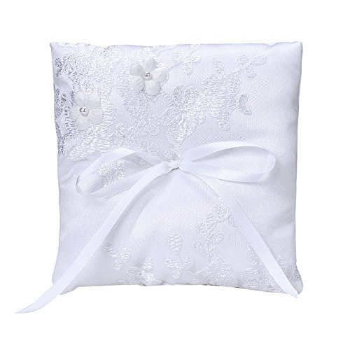 ce Flower Wedding Party Pocket Ring Pillow Pearl Cushion WH ()