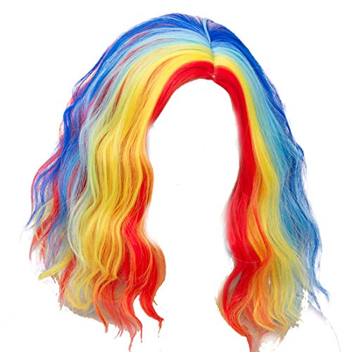 Alacos Fashion 35cm Short Curly Full Head Wig Heat Resistant Daily Dress Carnival Party Masquerade Anime Cosplay Wig +Wig Cap (Bright Rainbow Red Yellow Blue) -