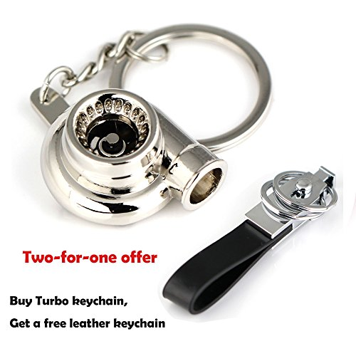 Maycom® Spinning Turbo Keychain Keyring Turbocharger Turbine Key Chain Ring Keyrings (Polished Silver) (Keychain Turbocharger compare prices)