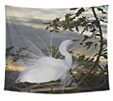 Gear New Wall Tapestry For Bedroom Hanging Art Decor College Dorm Bohemian, Great Egret Ardea Alba, Large, 104 inches wide by 88 inches tall