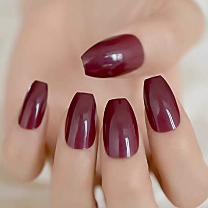 CoolNail Candy Dark Wine Red Coffin False Nails Ballerina Coffins Chestnut  Maroon Color Full Cover Fake Nail Flat Shape Fuax Ongles