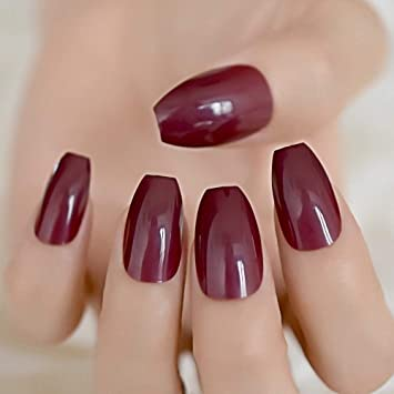 CoolNail Candy Dark Wine Red Coffin False Nails Ballerina Coffins Chestnut Maroon Color Full Cover Fake