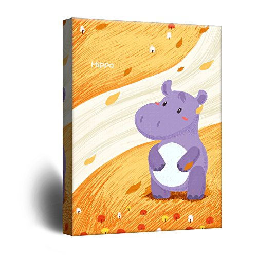 Cute Cartoon Animals A Purple Hippo on Yellow Riverbank Kid