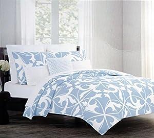 Tahari 3 Piece Full / Queen Size Cotton Duvet Cover Set Light Blue Scroll Pattern on White