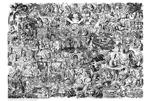 Alice in Wonderland Collage Black & White Poster 24x36 Collections Poster Print, 36x24