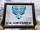 Air Force Stained Glass window Sun Catcher, Military, one of a kind