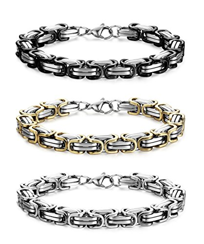 "Jstyle 3Pcs 8MM Stainless Steel Byzantine Bracelet for Men Link Chain Bracelet Set 8""8.5""9"""