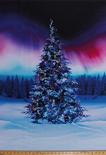 "29"" X 44"" Panel Christmas Tree Northern Lights Aurora Borealis Holiday Landscape Winterscape Festive All Aglow Cotton Fabric Panel (P4366-643-borealis)"