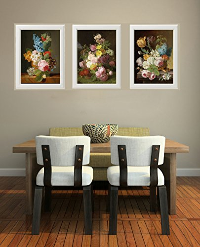 Botanical Set of 3 Prints Unframed Antique Beautiful French Garden
