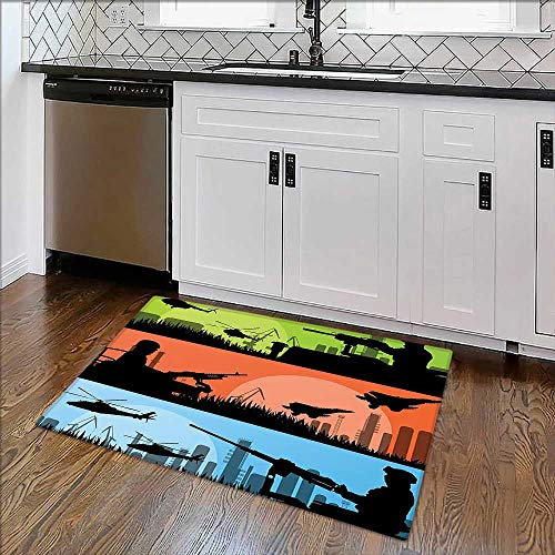 Soft Non Slip Absorbent Bath Rugs Sceneries Soldiers Armed Helicopters Warplanes Guns City Landscape Green Orange Machine Washable Large Mats Materials