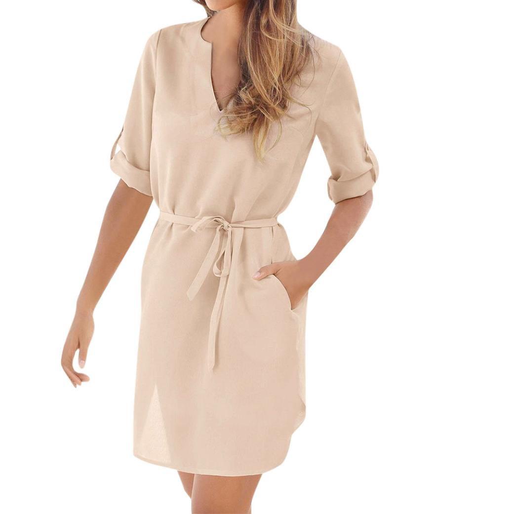 ESAILQ Frauen Lässige Feste 1/2 Sleeved V-Ausschnitt Schnür-Tasche unregelmäßiges Hem Beach Dress ESAILQ Kleid Nr.1
