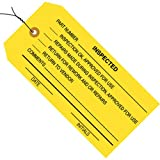 Aviditi G20063 13 Point Cardstock Pre-Wired Rejected Inventory Tag, 4-3/4'' Length x 2-3/8'' Width, Yellow (Case of 1000)