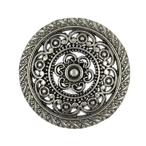 Bezelry 8 Pieces Metal Lacework Filigree Gray Silver Metal Shank Buttons. 30mm